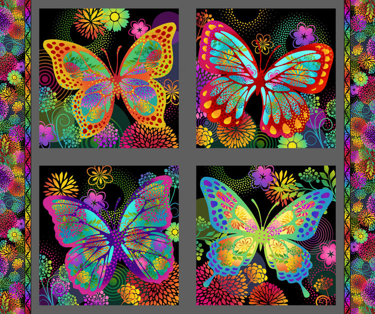 UNUSUAL GARDEN II Butterfly Panel multi/black