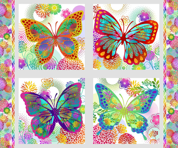 UNUSUAL GARDEN II Butterfly Panel multi/white
