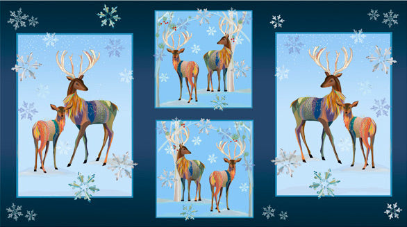 "FIRST FROST Deer Patches navy Panel 24""x42"""