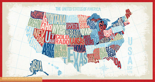 "ACROSS THE USA Map Panel 24""x42"""