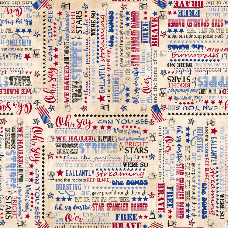 LAND OF THE FREE Star Spangled Banner Words tan