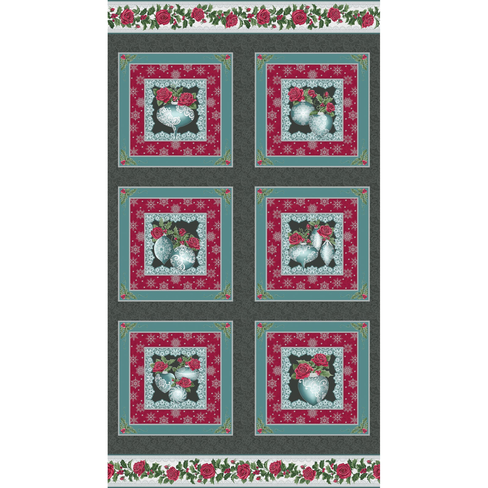 A FESTIVE SEASON III Festive Lace Ornament Panel charcoal/teal