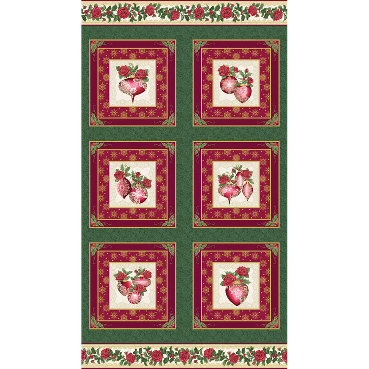 A FESTIVE SEASON III Festive Lace Ornament Panel green/red
