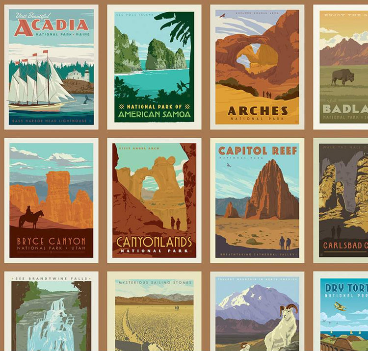 "NATIONAL PARKS Posters sand Panel 24""x43"""