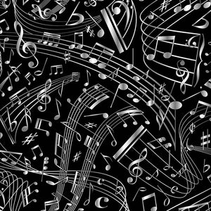 MUSIC Swirling Music Notes black