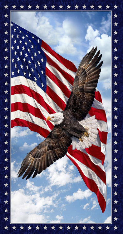 LAND OF THE FREE Patriotic Eagle Panel 24""