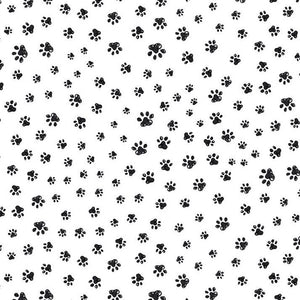 PET SKETCH Sketched Paw Prints white