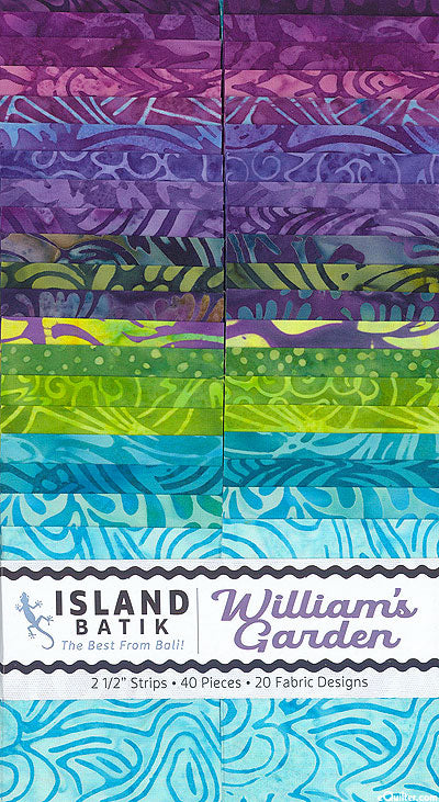 "ISLAND BATIK William's Garden 2 1/2"" Strip Pack"