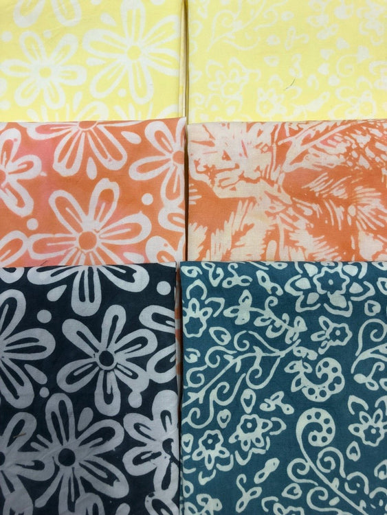 FEATHERS Lemon Peach 6 fat quarters