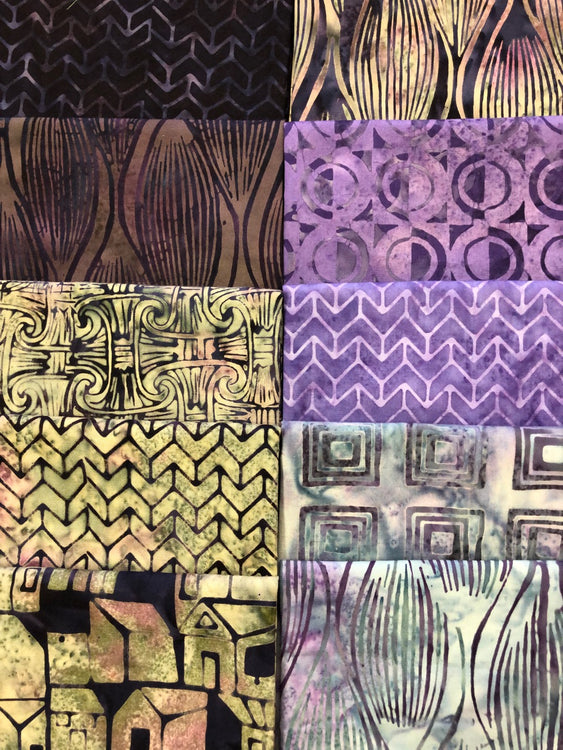 DECO REVIVAL Purple 10 fat quarters