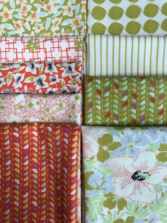 FINE AND SUNNY coral/avocado 9 fat quarters