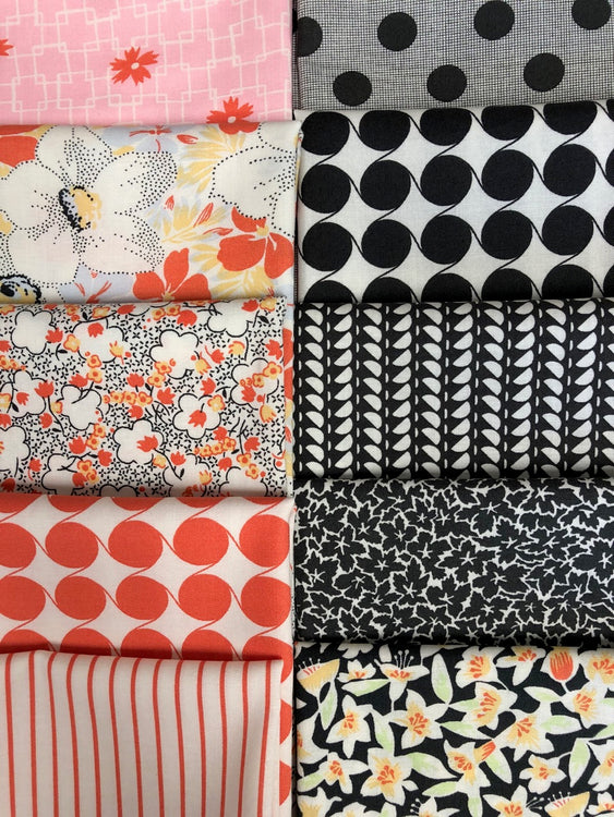 FINE AND SUNNY coral/black 10 fat quarters