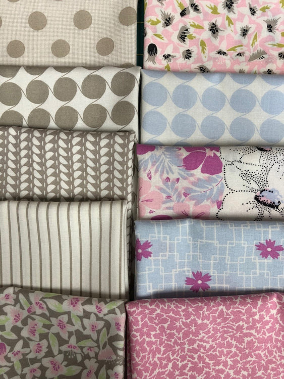 FINE AND SUNNY mauve/gray 10 fat quarters