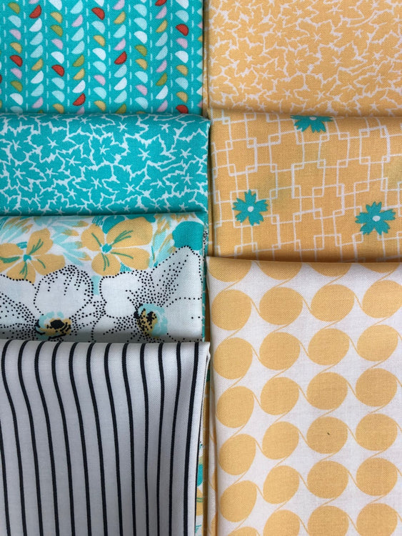FINE AND SUNNY turquoise/yellow 7 fat quarters