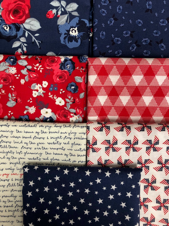 LAND OF LIBERTY Blue Red White 7 fat quarters