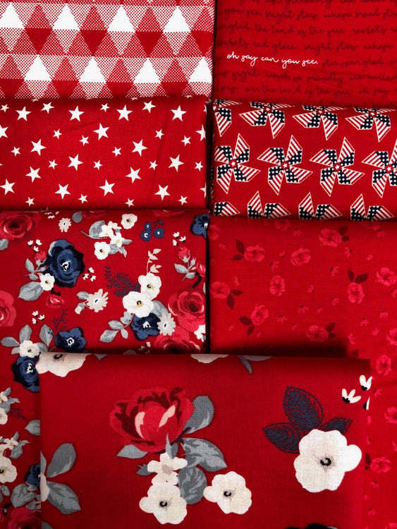 LAND OF LIBERTY Red 7 half yards