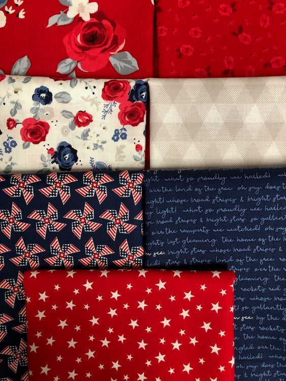 LAND OF LIBERTY Red White Blue 7 fat quarters