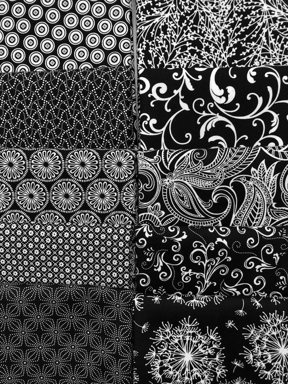NIGHT & DAY Black 10 fat quarters