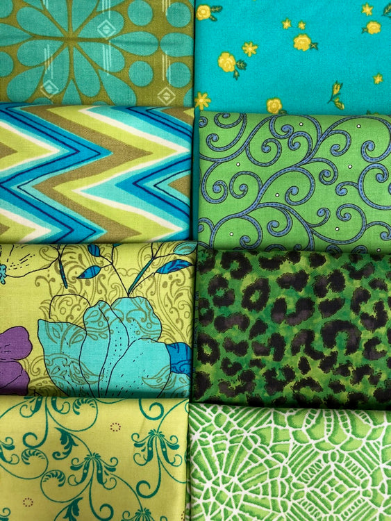 GREEN TURQUOISE 8 fat quarters