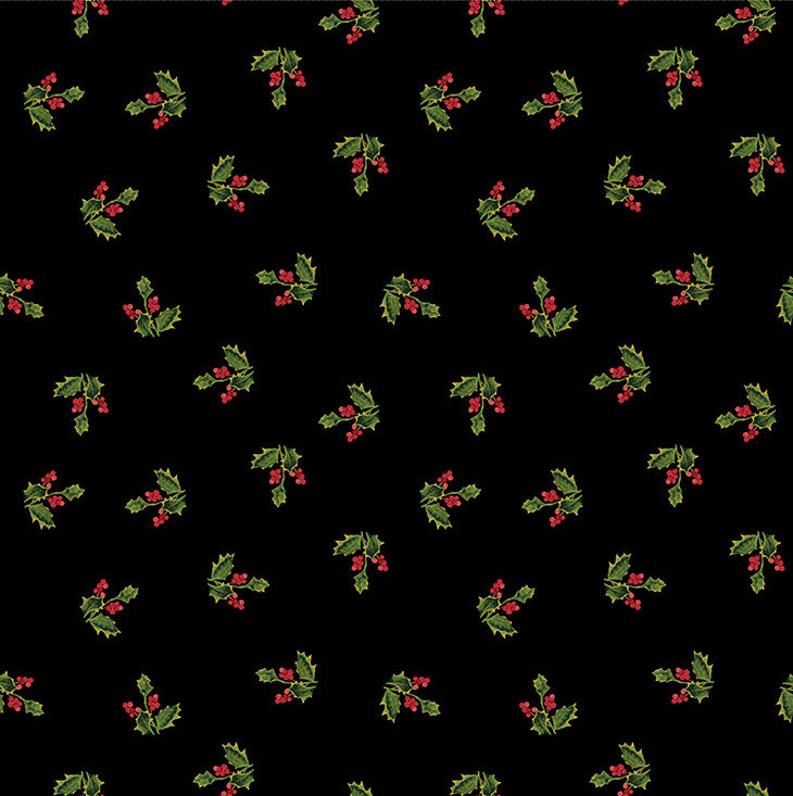MERRY & BRIGHT Holly Sprig black