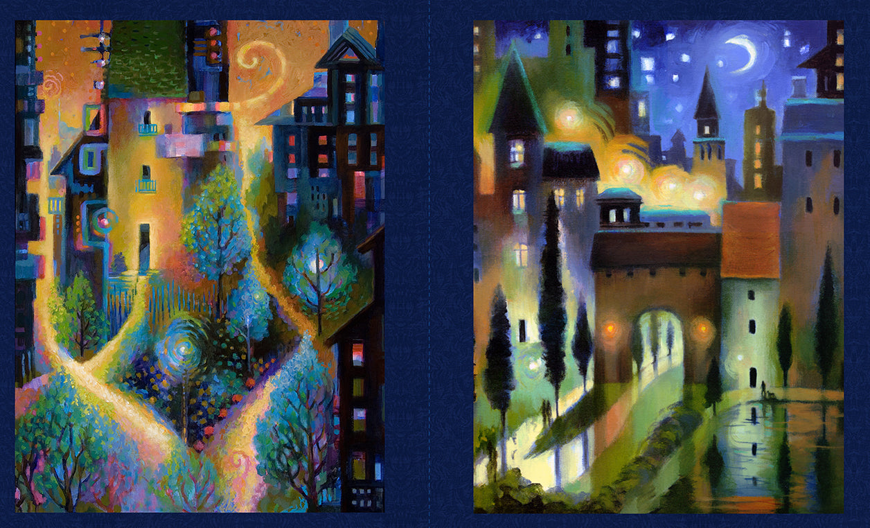 "CITY DREAMS Y2775-96 Panel dark indigo 23""x43"""