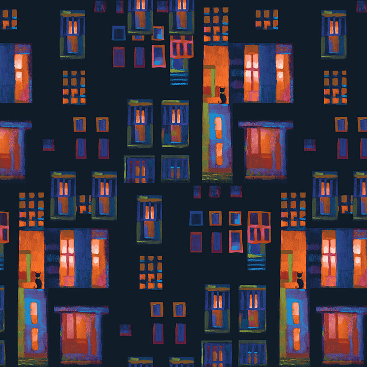 CITY LIGHTS Cats in Windows dark coral