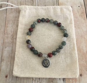 Bloodstone 6mm Beaded Gemstone Bracelet with Stainless Steel OM Charm
