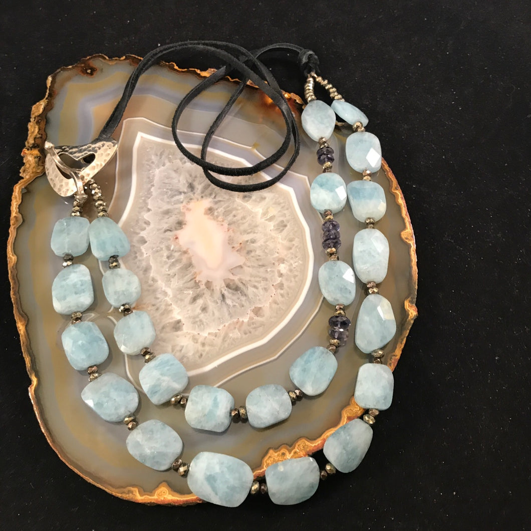 Aquamarine Necklace with Heart Toggle