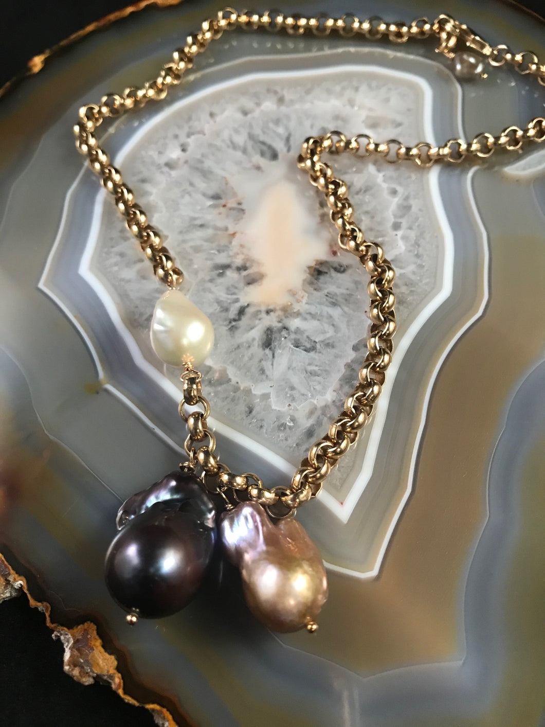 Baroque Pearl Necklace on Gold Link Chain