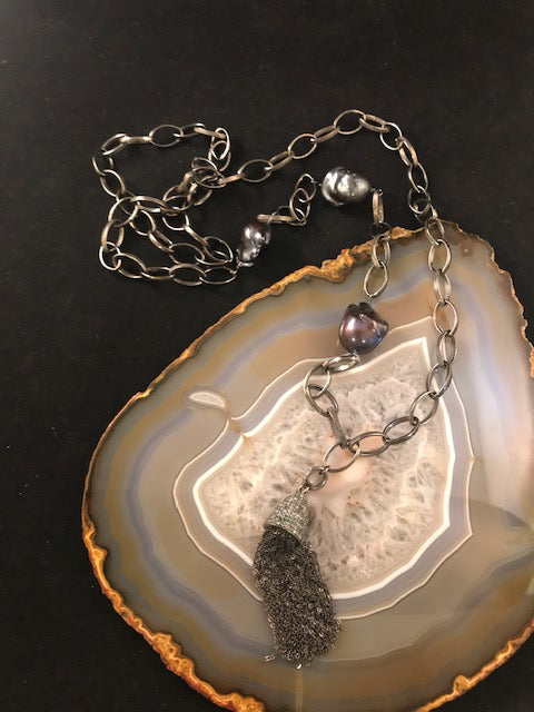 Blue Pearl and Pendant Necklace