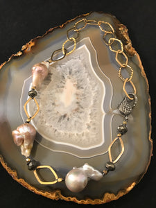 Baroque Pearl Choker on Gold Chain