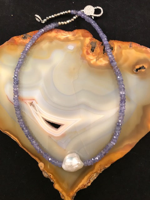 Tanzanite and Baroque Pearl Necklace