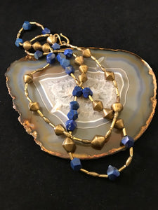 Lapis Necklace with Gold and Brass Accents