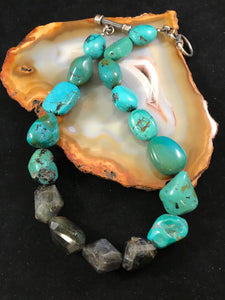 Turquoise and Labradorite Nugget Necklace