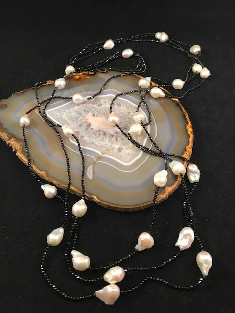 Spinel and Pearl Rope Necklace