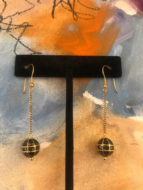 Black Diamond and Gold Earrings