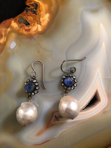 Pearl and Blue Sapphire Earrings