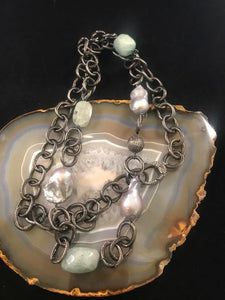 Aquamarine, Pearls, on Gunmetal Chain