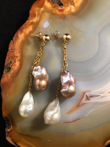 Two Baroque Pearls on Gold Chain Earrings