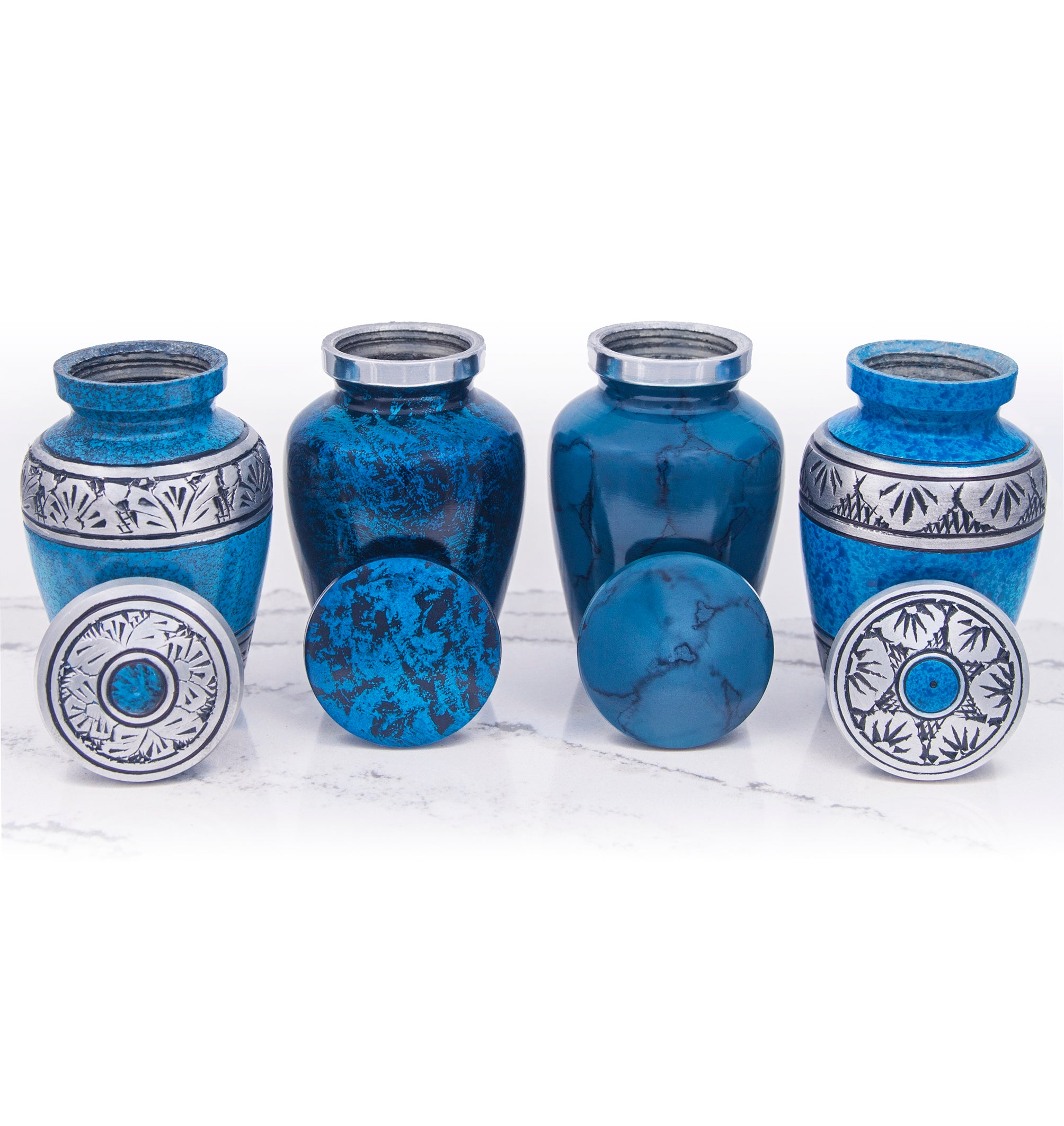 SMALL KEEPSAKE URN COLLECTION - 4 SHADES OF BLUE - SET OF 4