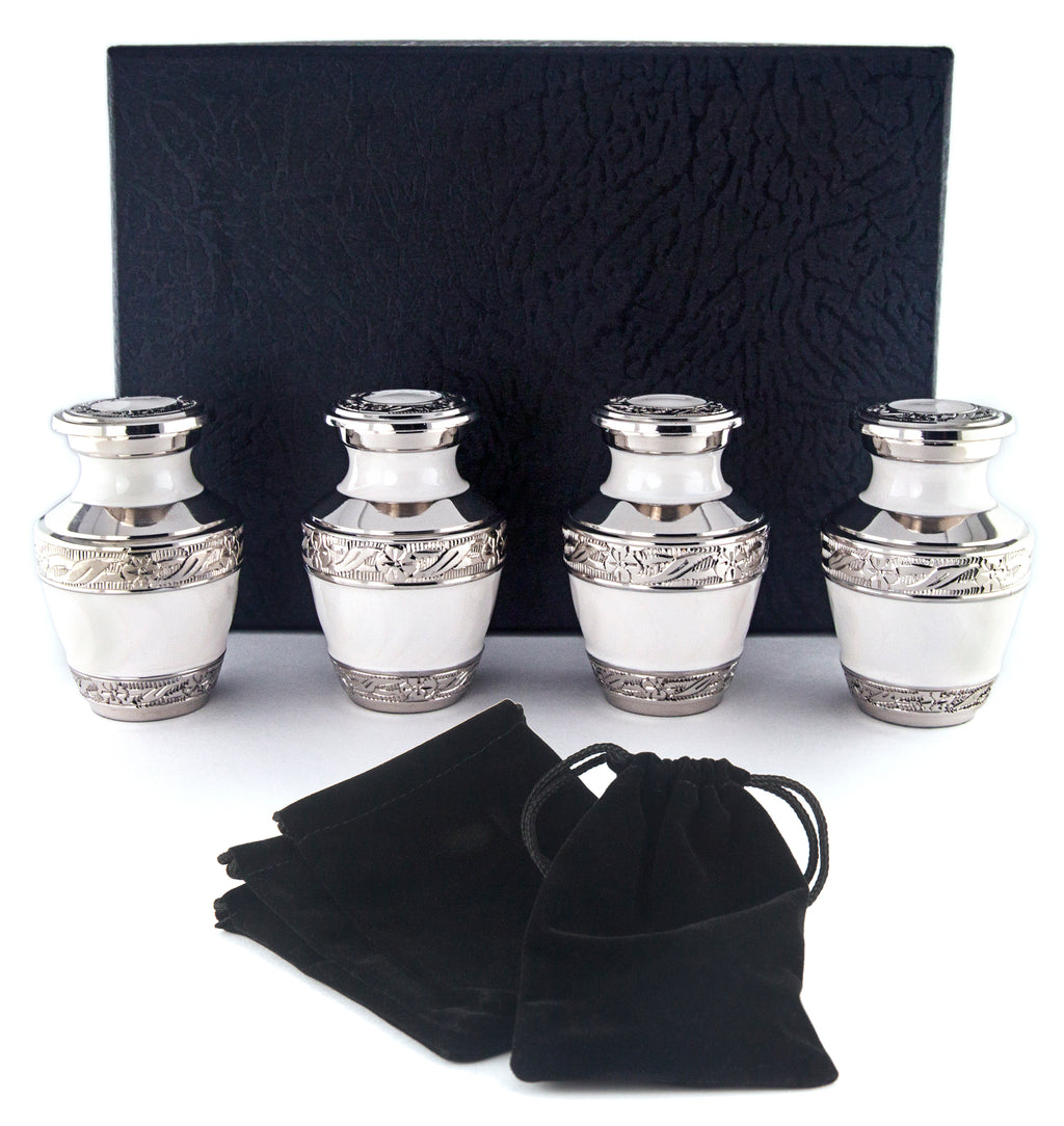 SMALL KEEPSAKE URN COLLECTION - PEARL WHITE - SET OF 4