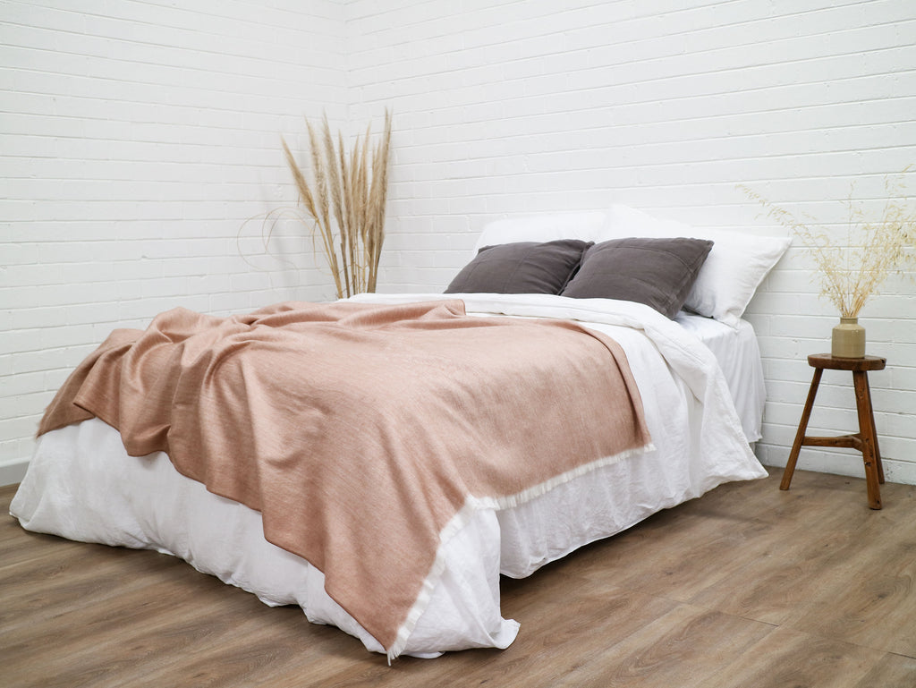 Fringed Throw - Rose Gold