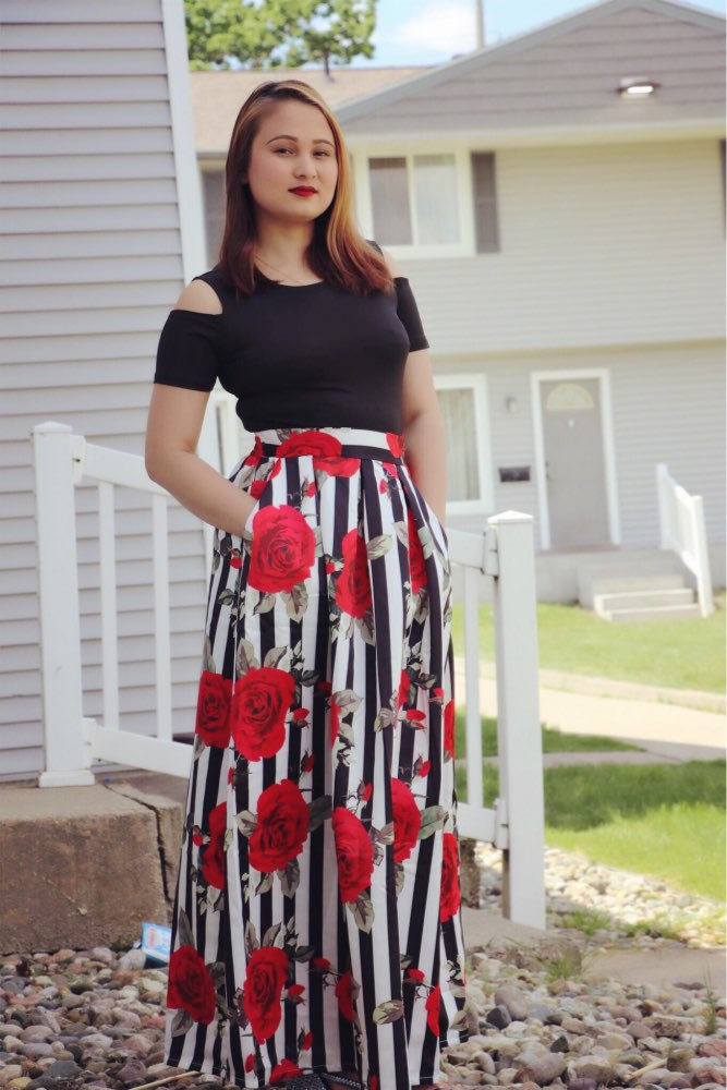 """Blossom"" Two Piece Plus Size Maxi Skirt - allgasnobrakez.com"