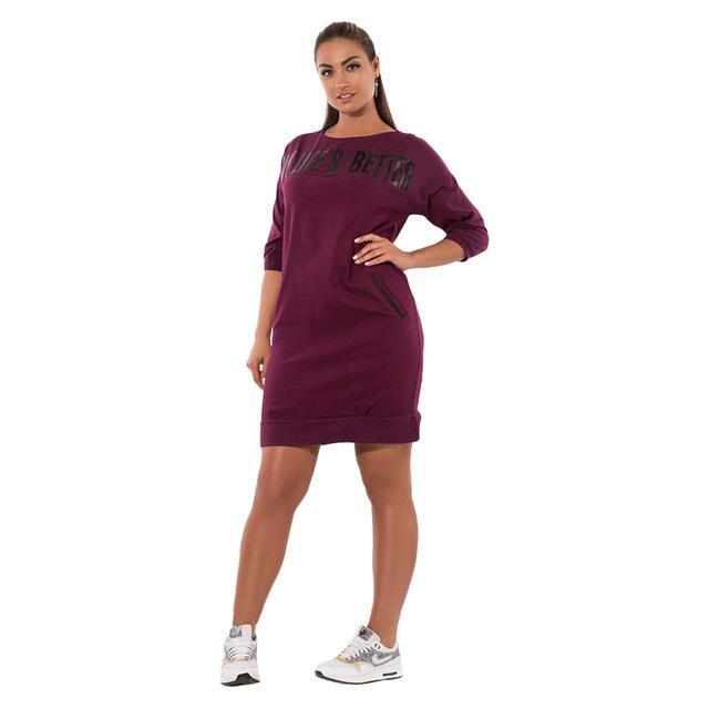 """My Life's Better"" Plus Size Dress With Pockets - allgasnobrakez.com"