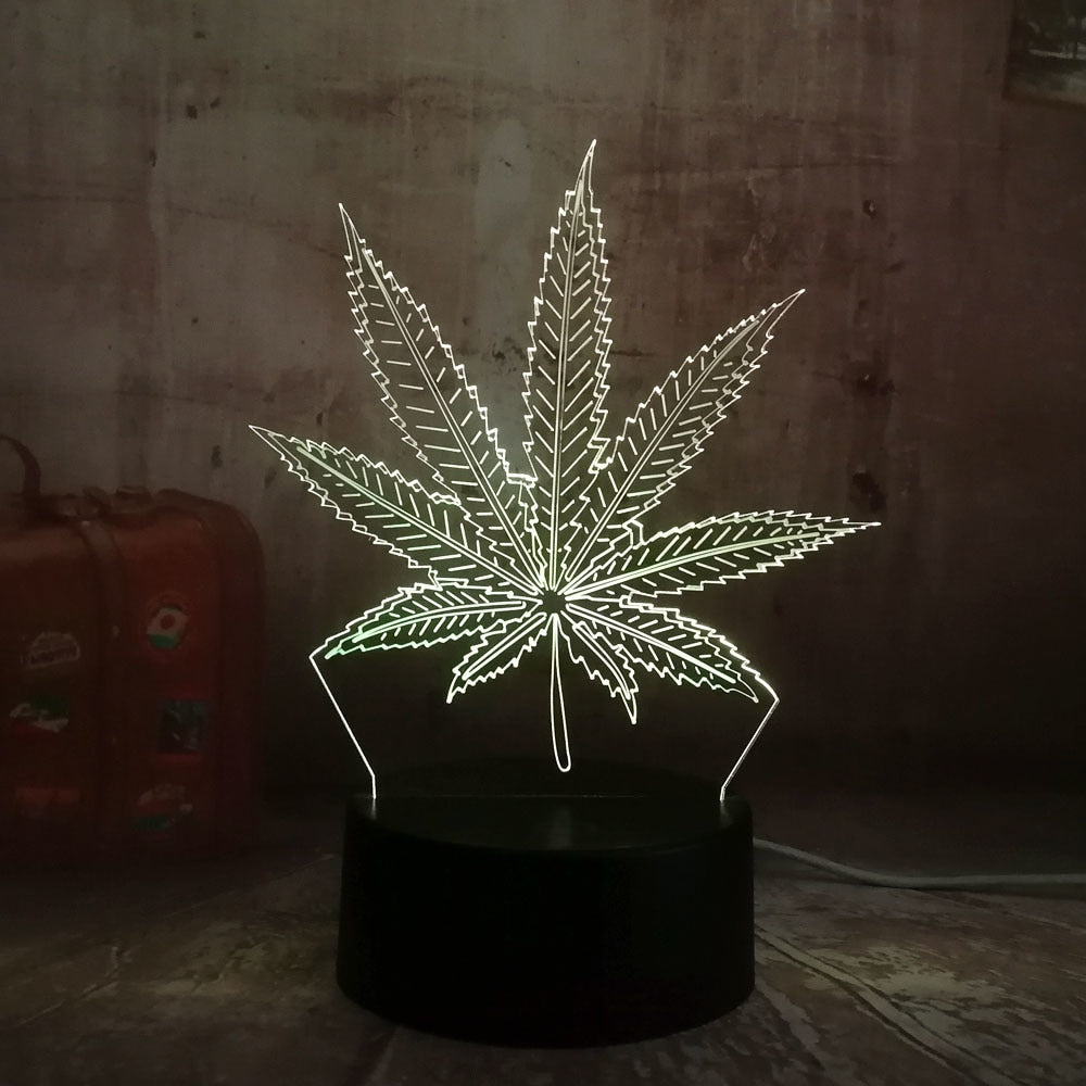 """Hemp"" 3D Remote Night Light (7 colors) - allgasnobrakez.com"