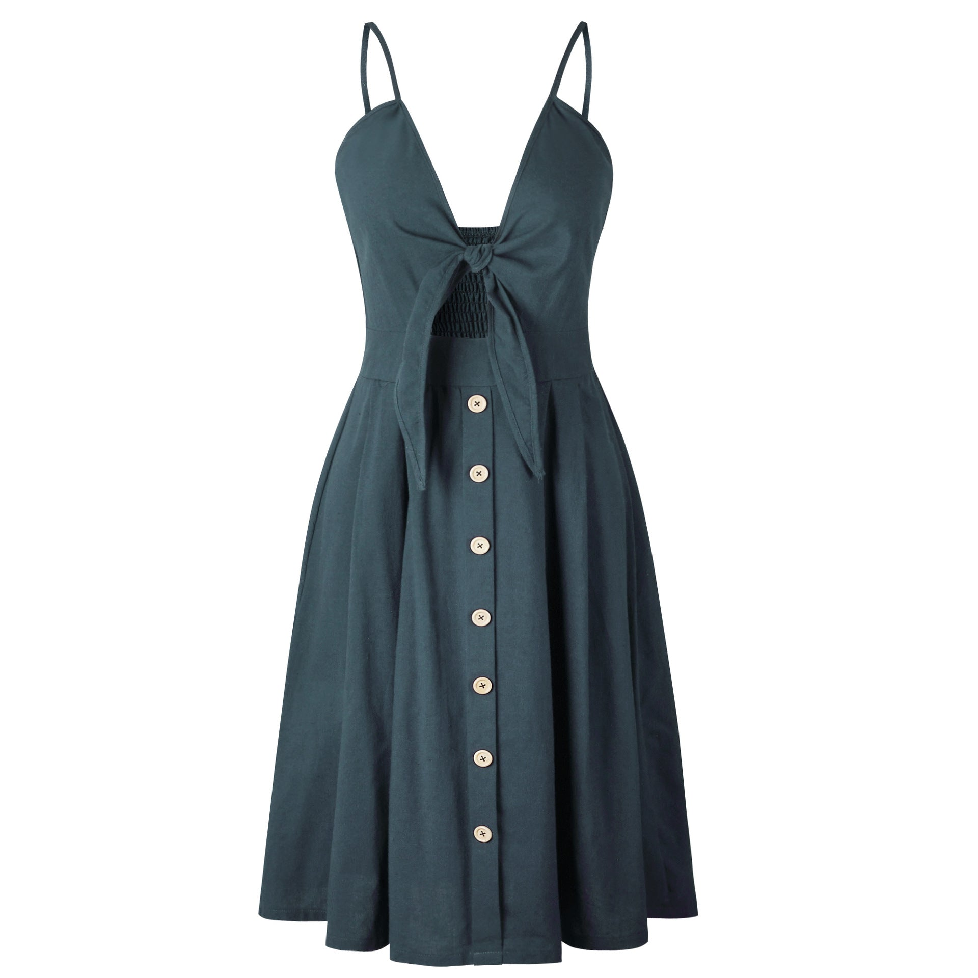 """Lovely"" Bow, Button Down Dress - All Gas No Brakez"