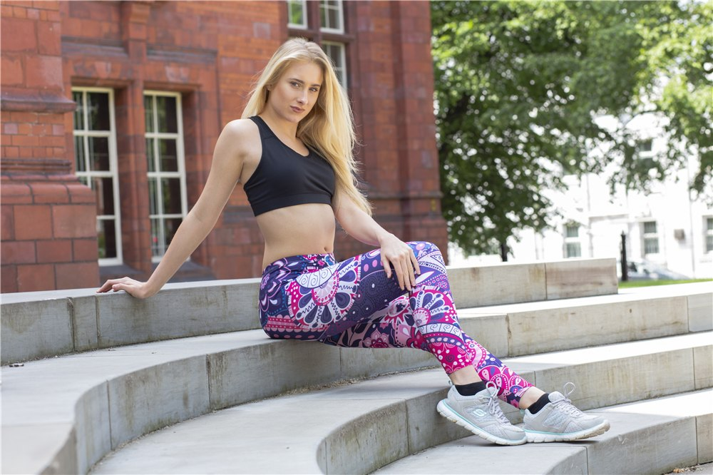 """Coral"" Zohra Fashion Mandala Purple Printing Sexy Leggings Workout Fitness Pants - allgasnobrakez.com"