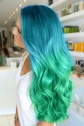 Blue and Green Hair Extensions