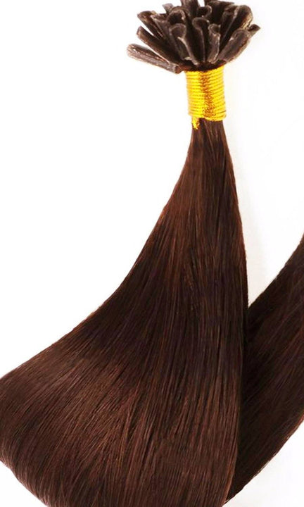 Premium Line Medium Copper Brown - Keratin Bonds Hair Extensions