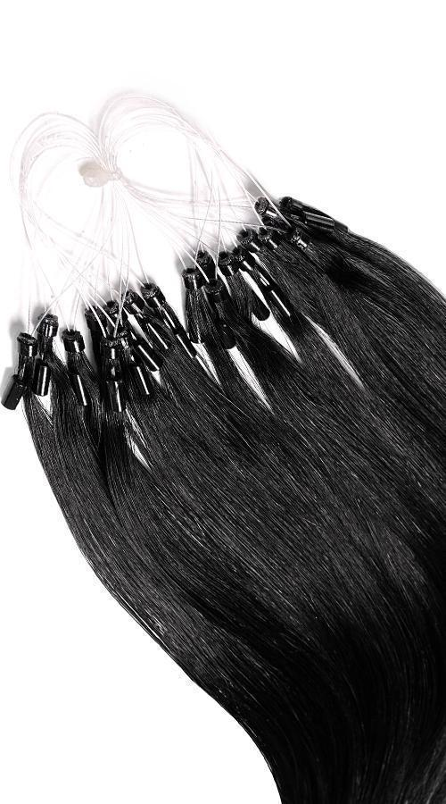 Remy Quality Micro-Ring Hair Extensions - Jet Black